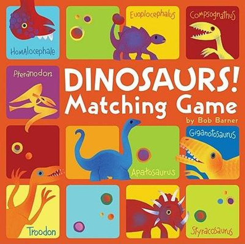 Bob Barner's colorful paper-collage dinosaurs spring to life in this classic 72-card matching game. Young dino-lovers will have fun while developing their memory, concentration, and matching skills. And theyll delight in learning the names of a variety of amazing dinosaurs<br><br><b>Author:</b> Bob Barner<br><b>Publisher:</b> Chronicle Books<br><b>Published:</b> 09/01/2009<br><b>Pages:</b> 72<br><b>Binding Type:</b> Hardcover<br><b>Weight:</b> 1.20lbs<br><b>Size:</b> 9.00h x 9.00w x 1.50d<br><b>ISBN:</b> 9780811869805