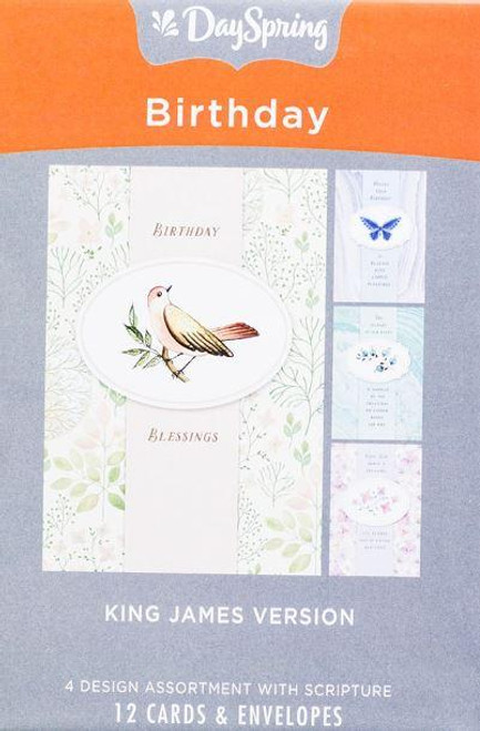 """<p><span data-mce-fragment=""""1"""">This assorted boxed set of 'Treasures' Christian birthday cards will brighten a friend or loved one's special day with an endearing message and Scripture. This birthday boxed card set, with its mix of floral and watercolor designs, is wonderful to have on hand to give birthday greetings at just the right time.</span></p> <p></p> <ul> <li>12 birthday boxed cards and 12 envelopes</li> <li>3 cards of 4 designs</li> <li>KJV Scripture text</li> <li>Folded card size: 4 1/2"""" x 6 9/16""""</li> </ul>"""
