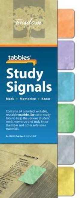 Study Signals are writable, reuseable color coded tabs to flag important information. Transparent adhesive area allows unobstructed views of margin notes and comments. Publisher: Tabbies Published: 09/01/2013Binding Type: OtherWeight: 0.01lbsSize: 9.75h x 3.50w x 0.01d ISBN: 0084371582525