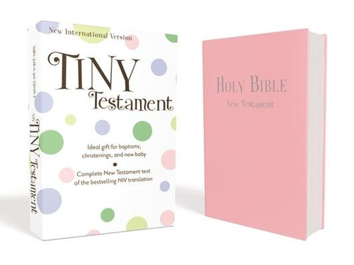 <p><strong>Tiny New Testament ideal gift for baptisms, christenings, and baby dedications.</strong></p><p>The <em>NIV Tiny Testament</em> includes the complete New Testament text of the bestselling and accessible New International Version (NIV). Adorable to use in a baby's nursery and a lovely keepsake as they grow.</p><p>Features: </p><ul> <li>Pocket size: 3.39 x 4.88 inches</li> <li>Complete New Testament of the accurate, readable, and clear New International Version (NIV)</li> <li>Words of Jesus in red</li> <li>Packaged in a two-piece gift box</li> <li>Beautiful Leathersoft(TM) cover with foil stamping</li> </ul><p>Using the accurate, readable, and clear New International Version (NIV) text makes the Bible accessible and easy-to-read for kids. The NIV is the result of over 50 years of work by the Committee on Bible Translation, who oversee the efforts of many contributing scholars. Representing the spectrum of evangelicalism, the translators come from a wide range of denominations and various countries and continually review new research to ensure the NIV remains at the forefront of accessibility, relevance, and authority. Every NIV Bible that is purchased helps Biblica translate and give Bibles to people in need around the world.</p><br><br><b>Bible Version:</b> New International<br><b>Author:</b> Zonderkidz<br><b>Publisher:</b> Zonderkidz<br><b>Published:</b> 05/05/2012<br><b>Pages:</b> 278<br><b>Weight:</b> 0.19lbs<br><b>Size:</b> 6.44h x 4.18w x 0.65d<br><b>ISBN:</b> 9780310730262<br><b>Binding Color:</b> Pink<br><b>Binding Material:</b> Imitation Leather<br><b>Bible Portion:</b> Complete Without Apocrypha<br><b>Bible Type:</b> General Use