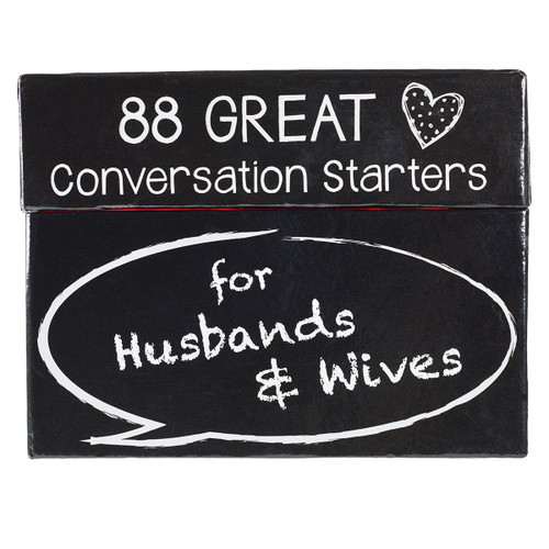 """<span data-mce-fragment=""""1"""">Conversation starters by Rob Teigen is a fun way couples can get to know one another better. Each card has a question and an accompanying Scripture verse or quote that is sure to spark some lively conversation and lots of laughter.</span><br data-mce-fragment=""""1""""> <ul data-mce-fragment=""""1""""> <li data-mce-fragment=""""1"""">Card size: 3.09"""" x 2.09""""</li> <li data-mce-fragment=""""1"""">44 double-sided cards</li> <li data-mce-fragment=""""1"""">Individually shrink-wrapped</li> </ul>"""