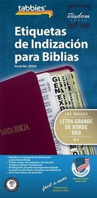 Large print Bible indexing tabs in spanish. Author: TabbiesPublisher: TabbiesPublished: 12/15/2015Binding Type: OtherWeight: 0.11lbsSize: 8.70h x 4.50w x 0.20d ISBN: 0084371583553 Language: SpanishLarge Print