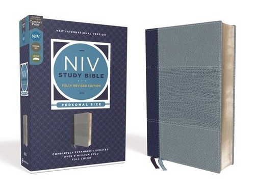<p><strong>Know what the Bible says. Understand why the Bible matters.</strong></p><p>Set in Zondervan's exclusive NIV Comfort Print(R) typeface, this stunning, full-color study Bible answers your pressing questions with just the right amount of information, placed in just the right location.</p><p>With its decades-long legacy of helping readers grasp the Bible's meaning, the <em>NIV Study Bible, Personal Size, </em>embodies the mission of the NIV translation to be an accurate, readable, and clear guide into Scripture. Specifically designed to expand upon the NIV, the <em>NIV Study Bible</em>'s editorial team crafts that same accuracy and clarity into every study note.</p><p>Now the study Bible millions have come to trust has been fully revised and updated. A new committee of top biblical scholars--who are current and former NIV translators with a passion for making the Bible's meaning clear--have pored over every note, every article, every chart, and every essay to refine this treasured resource even more. Thousands of newly written or revised notes and articles combine with hundreds of four-color maps, charts, photos, and illustrations to create an entire library of study helps designed to increase your understanding and application of God's word.</p><p>Features: </p><ul> <li>Complete text of the accurate, readable, and clear New International Version (NIV)</li> <li>Over 21,000 bottom-of-the-page study notes, with icons to make important information easy to spot</li> <li>Over 125 topical articles, 16 pages of full-color maps, the Comprehensive NIV Concordance with nearly 4800 word entries, and a subject note index enable even deeper study</li> <li>Sixty-six book introductions and outlines along with six section introductions provide valuable background information for each book of the Bible</li> <li>In-text maps, charts, diagrams, and illustrations visually clarify the stories in the Bible</li> <li>Words of Jesus in red</li> <li>Two satin ribbon markers</li> <li>E