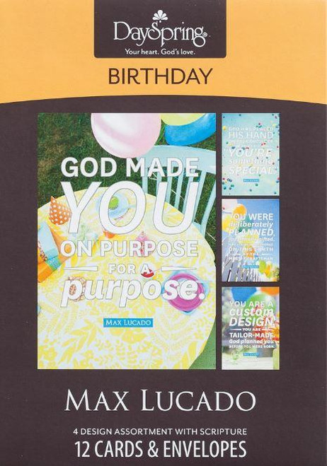 """<span data-mce-fragment=""""1"""">Celebrate someone special on their birthday with a charming card from best selling Christian author, Max Lucado.</span><br data-mce-fragment=""""1""""><br data-mce-fragment=""""1""""><span data-mce-fragment=""""1"""">Product Details:</span><br data-mce-fragment=""""1""""><span data-mce-fragment=""""1"""">12 cards and envelopes</span><br data-mce-fragment=""""1""""><span data-mce-fragment=""""1"""">3 cards of 4 designs</span><br data-mce-fragment=""""1""""><span data-mce-fragment=""""1"""">Mixed scripture text</span><br data-mce-fragment=""""1""""><span data-mce-fragment=""""1"""">Folded card size: 4 1/2"""" x 6 1/2""""</span><br data-mce-fragment=""""1""""><br data-mce-fragment=""""1""""><span data-mce-fragment=""""1"""">Card 1</span><br data-mce-fragment=""""1""""><span data-mce-fragment=""""1"""">Cover:</span><br data-mce-fragment=""""1""""><span data-mce-fragment=""""1"""">You are a custom design</span><br data-mce-fragment=""""1""""><span data-mce-fragment=""""1"""">you are tailor-made.</span><br data-mce-fragment=""""1""""><span data-mce-fragment=""""1"""">God planned you before you were born.</span><br data-mce-fragment=""""1""""><span data-mce-fragment=""""1"""">-Max Lucado</span><br data-mce-fragment=""""1""""><span data-mce-fragment=""""1"""">Inside:</span><br data-mce-fragment=""""1""""><span data-mce-fragment=""""1"""">Thanking God for His very special creation-You!</span><br data-mce-fragment=""""1""""><span data-mce-fragment=""""1"""">Happy Birthday</span><br data-mce-fragment=""""1""""><span data-mce-fragment=""""1"""">Scripture:</span><br data-mce-fragment=""""1""""><span data-mce-fragment=""""1"""">You were there while I was being formed...</span><br data-mce-fragment=""""1""""><span data-mce-fragment=""""1"""">You saw me before I was born and scheduled each day of my life before I began to breathe.</span><br data-mce-fragment=""""1""""><span data-mce-fragment=""""1"""">Every day was recorded in Your book! Psalm 139:15, 16 TLB</span><br data-mce-fragment=""""1""""><br data-mce-fragment=""""1""""><span data-mce-fragment=""""1"""">Card 2</span><br data-mce-fragment=""""1""""><span data-mce-fragment=""""1"""">Cover:</span><br data-mce-fragment=""""1""""><span data-mce-fragment=""""1"""">God has p"""