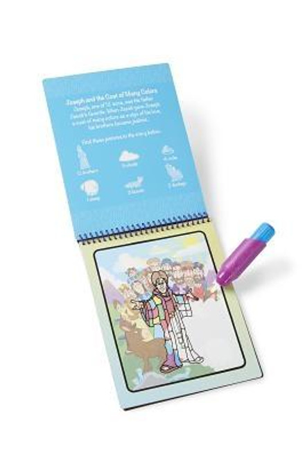Enjoy Bible stories with this exciting paint-with-water coloring book. This Bible-themed book includes four scenes to color and a search-and-find activity for each scene. The chunky-sized water pen is easy for kids to hold and stores neatly right in the front cover, so Water WOW books make ideal travel activity books for kids! Author: Melissa & DougPublisher: Melissa & DougPublished: 08/25/2015Binding Type: OtherWeight: 0.40lbsSize: 10.10h x 6.01w x 1.50d ISBN: 0000772094054