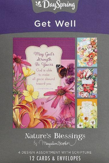 """<p><span data-mce-fragment=""""1"""">Brighten the spirits of ailing loved ones with these beautiful Get Well cards from DaySpring.</span><br data-mce-fragment=""""1""""><span data-mce-fragment=""""1""""></span></p> <p><span data-mce-fragment=""""1"""">Details:</span><br data-mce-fragment=""""1""""><span data-mce-fragment=""""1"""">Floral watercolor artwork by Marjolein Bastin</span><br data-mce-fragment=""""1""""><span data-mce-fragment=""""1"""">Inspirational words and sentiments</span><br data-mce-fragment=""""1""""><span data-mce-fragment=""""1"""">Scripture quotation from NIV or KJV</span><br data-mce-fragment=""""1""""><span data-mce-fragment=""""1"""">12 cards, 3 each of 4 designs, and envelopes</span><br data-mce-fragment=""""1""""><span data-mce-fragment=""""1"""">Approx. 4.5"""" w x 6.5"""" h</span></p>"""