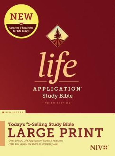 <b>Trusted &amp; Treasured by Millions of Readers over 30 years, the <i>Life Application(R) Study Bible</i> Is Today's #1-Selling Study Bible, and a Bible <i>for All Times.</i></b><br><br>Now it has been <b>thoroughly updated and expanded</b>, offering even more relevant insights for understanding and applying God's Word to everyday life in today's world.<br><br><b>Discover How You Can Apply the Bible to Your Life Today</b><br>Now with a fresh two-color interior design and meaningfully updated study notes and features, this Bible will help you understand God's Word better than ever. It answers questions that you may have about the text and provides you practical yet powerful ways to apply the Bible to your life every day.<br><br>Study the stories and teachings of the Bible with verse-by-verse commentary. Gain wisdom from people in the Bible by exploring their accomplishments and learning from their mistakes. Survey the big picture of each book through overviews, vital statistics, outlines, and timelines, and grasp difficult concepts using in-text maps, charts, and diagrams--all to help you do life God's way, every day.<br><br><b>The Large Print editions are for people who enjoy the enhanced readability of larger text.</b><br><br><b>Features: (Enhanced, updated, and with new content added throughout)</b><br><ul> <li>Now more than 10,000 <i>Life Application(R)</i> notes and features</li> <li>Over 100 <i>Life Application(R)</i> profiles of key Bible people</li> <li>Introductions and overviews for each book of the Bible</li> <li>More than 500 maps &amp; charts placed for quick reference</li> <li>Dictionary/concordance</li> <li>Extensive side-column cross-reference system to facilitate deeper study</li> <li> <i>Life Application(R)</i> index to notes, charts, maps, and profiles</li> <li>Refreshed design with a second color for visual clarity</li> <li>16 pages of full-color maps</li> <li>Quality Smyth-sewn binding--durable, made for frequent use, and lays flat when open</l