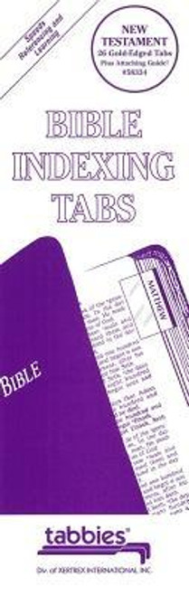 Large print Bible tabs. Publisher: TabbiesPublished: 01/01/1998Binding Type: OtherWeight: 0.30lbsSize: 10.00h x 3.50w x 1.50d ISBN: 0084371583348 Large Print