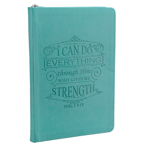 """<div>This journal beautifully features Philippians 4:13 on the cover. This journal has everything from a zipper closure to a presentation gift giving page. The journal cover is constructed of quality man-made lux leather material.</div> <div></div> <p><span style=""""font-weight: 400;"""">Our writing journals are perfect for gift-giving.</span></p> <p></p> <p></p> <li><span>Debossed Cover Text</span></li> <li><span>Zipper Closure</span></li> <li><span>Presentation Page for Gift-Giving</span></li> <li><span>400 Lined Pages</span></li> <li><span>Supple Soft Faux Leather</span></li> <li><span>Inspirational passage on each page</span></li> <li> <span>Dimensions: </span><span>6.25 x 8.75</span><span> Inches </span> </li> <p></p>"""