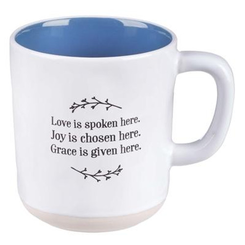 This clay-dipped Love Joy Grace Ceramic Mug is just the right size for your favorite beverage and carries a thoughtful, endearing message to speak with love in your heart, choose joy throughout the day and give grace to others. The message and interior of this white textured ceramic mug is a calming shade of blue, and the base offers additional interest as it appears to have been dipped in potters clay. This mug makes a loving gift for mothers, daughters, sisters, or friends-whatever the occasion. Capacity: 12 fl oz (355ml)  Publisher: CAG Published: 09/01/2019Binding Type: OtherWeight: 0.80lbsSize: 4.20h x 4.50w x 3.70d ISBN: 0843310100639