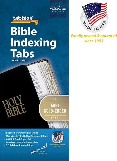 """<span data-mce-fragment=""""1"""">For any size Bible up to 12 inches and particularly well suited for Bibles under 7 inches; includes tabs for both Old and New Testament. Attractively printed and edged in gold or silver, these pre-cut, 1/2"""" self-adhesive tabs make small Bibles even handier to carry and reference. 77 tabs per set.</span>"""
