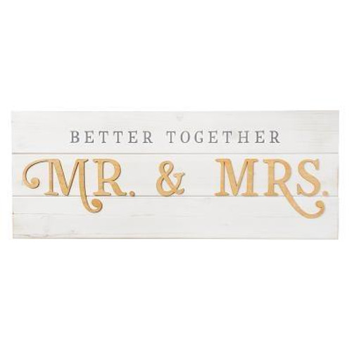 A couple joins together in marriage, and commit to love one another. The Better Together Wall Art reminds them that they are better together. They became stronger when they became one on their wedding day. Remind the newlyweds of this by giving them the plank wood wall art as a gift for their wedding, first anniversary or when they move into their first home. The Better Together Wall Art makes a great addition to any room. Publisher: CAG Published: 09/14/2018Binding Type: OtherWeight: 4.72lbs Size: 12.00h x 31.00w x 1.50d ISBN: 0843310100349