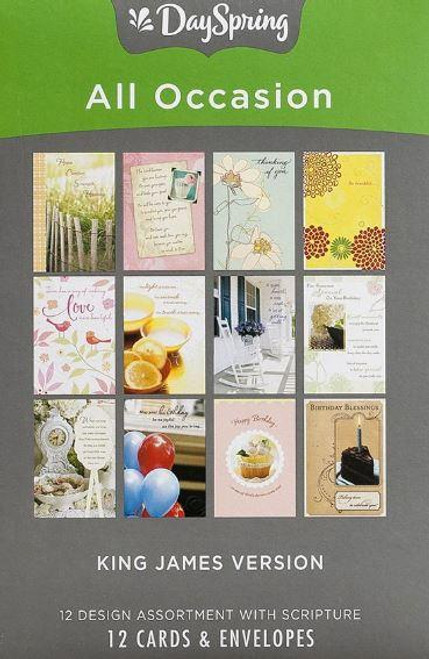 """<p><span data-mce-fragment=""""1"""">Be ready for any occasion with this box of All Occasion greeting cards from DaySpring.</span><br data-mce-fragment=""""1""""><span data-mce-fragment=""""1"""">Details:</span><br data-mce-fragment=""""1""""><br data-mce-fragment=""""1""""><span data-mce-fragment=""""1"""">Festive artwork and photographs</span><br data-mce-fragment=""""1""""><span data-mce-fragment=""""1"""">Christian sentiments</span><br data-mce-fragment=""""1""""><span data-mce-fragment=""""1"""">KJV Scripture quotation</span><br data-mce-fragment=""""1""""><span data-mce-fragment=""""1"""">12 cards and envelopes</span><br data-mce-fragment=""""1""""><span data-mce-fragment=""""1"""">Approx. 4.5"""" w x 6.5"""" h</span></p> <p><br data-mce-fragment=""""1""""><span data-mce-fragment=""""1"""">Set includes: 1-Anniversary, 4-Birthday, 3-Get Well, 1-Sympathy, 2-Thinking of You, 1-Thank You.</span></p>"""