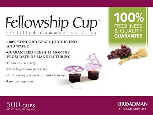 """<p data-mce-fragment=""""1""""><span data-mce-fragment=""""1"""">Ready to serve, pre-filled communion cup that contains 100% grape juice and an unleavened wafer. The top seal provides easy access to the wafer. Once the wafer is consumed the second seal reveals the juice. Fits into standard communion cup trays and no refrigeration is needed. Cups are guaranteed fresh if used by stamped date on the box.</span></p> <p data-mce-fragment=""""1""""><span data-mce-fragment=""""1"""">This product is guaranteed to be fresh if used by date stamped on the box.</span></p> <ul data-mce-fragment=""""1""""> <li data-mce-fragment=""""1""""><span data-mce-fragment=""""1"""">Contains500 individual serving cups</span></li> <li data-mce-fragment=""""1""""><span data-mce-fragment=""""1"""">The Fellowship Cup™ contains 100% Grape Juice and Unleavened Wafer</span></li> <li data-mce-fragment=""""1""""><span data-mce-fragment=""""1"""">Easy Access to Elements</span></li> <li data-mce-fragment=""""1""""><span data-mce-fragment=""""1"""">""""One Pass"""" Serving</span></li> </ul>"""