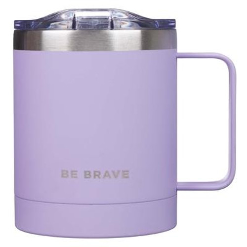 Enjoy your favorite beverage on the trail or at the supermarket with this sleek and functional Be Brave Stainless Steel Camp Mug. Bravery helps people get through even the toughest times. The etched message on this lavender camp mug reminds us to find strength and determination to move beyond fear and face the challenges ahead. Made of durable stainless steel for long-lasting use, this double-wall insulated mug keeps hot beverages toasty or cold drinks chilled for hours. Lightweight and sturdy, the lid of this mug is equipped with a protective rubber gasket and sliding closure sip hole that prevents splashes and spills. The ergonomic handle provides an effortless grip and enhanced stability. Perfect for use at home, office, camping, picnics or as a gift to family or friends! Capacity: 11 fl. oz. (325ml) Size: 4.7 x 4.5 x 3.5 (119 x 114 x 86mm) Gift Box Dimensions: 5 x 4.6 x 3.8 (127 x 117 x 89mm) Publisher: CAG Published: 08/19/2019 Binding Type: OtherWeight: 0.93lbs Size: 5.00h x 4.60w x 3.80d ISBN: 0843310100868