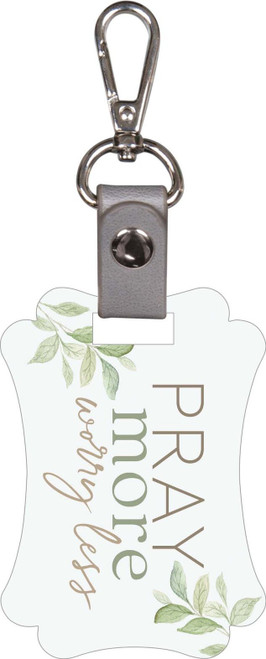 """<p>A keychain that reminds you to pray more and worry less.</p> <div class=""""field field-name-field-pd-length field-type-text field-label-inline clearfix""""> <div class=""""field-label"""">Depth:0.25""""</div> </div> <div class=""""field field-name-field-pd-width field-type-text field-label-inline clearfix""""> <div class=""""field-label"""">Width:3.5""""</div> </div> <div class=""""field field-name-field-pd-height field-type-text field-label-inline clearfix""""> <div class=""""field-label"""">Height:2.5""""</div> </div>"""