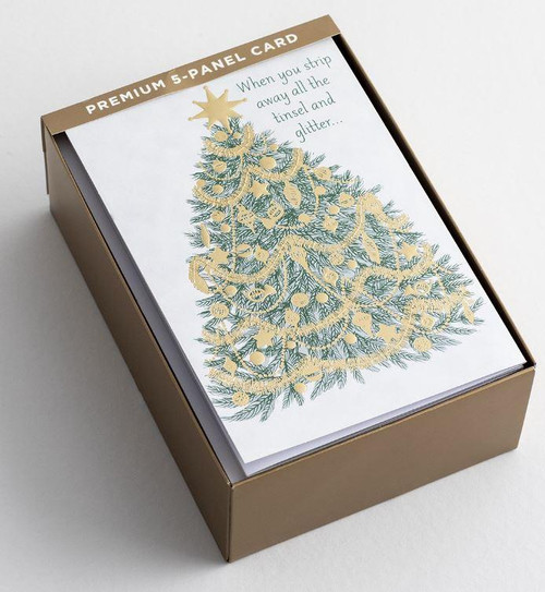 """<p><span data-mce-fragment=""""1"""">Share the true meaning of Christmas with this very special Christmas card.</span></p> <p><strong>Cover:</strong><br>Panel 1 - When you strip away all the tinsel and glitter</p> <p><strong>Inside:</strong><br>Panel 5 - God's real truth shines through</p> <p><strong>Scripture:</strong><br>I am the Way, and the Truth, and the Life; no one comes to the Father, but through Me. John 14:6 NASB</p> <ul> <li>Card features 5-fold panel, embossing, and foiling</li> <li>18 Premium cards and 19 gold foil-lined envelopes</li> <li>Closed card size: 4 3/4"""" x 6 7/8""""</li> <li>Open size approx. 23.75"""" x 6.75""""</li> </ul>"""