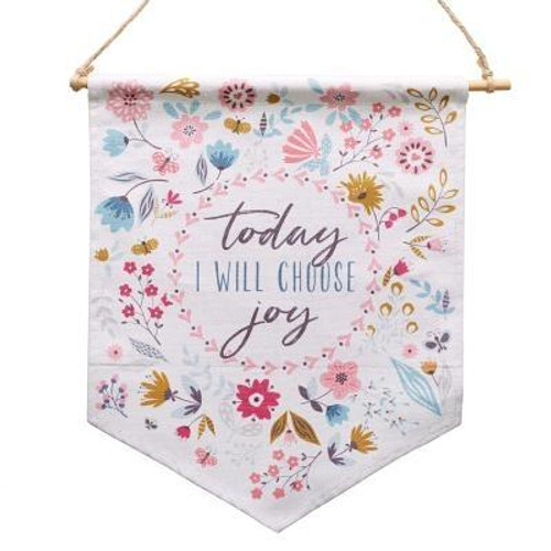 """The fabric Choose Joy Wall Art includes a bamboo rod and string for hanging. It features """"Today I Will Choose Joy"""" at the center of the banner-style fabric wall art. A floral pattern surrounds it. Publisher: Christian Art Gifts Published: 10/30/2018Binding Type: OtherWeight: 0.15lbsSize: 13.60h x 1.90w x 0.90dISBN: 0843310100066"""