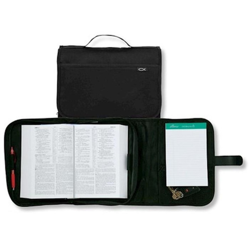 """<p><span data-mce-fragment=""""1"""">Style meets practicality in our canvas organizer cover. Velcro flap opens to reveal plenty of organizational features including mesh zipper pocket, notepad holder, side pocket, velcro pocket and two pen holders. The fully lined Bible compartment also features two pen loops. Rugged construction with exterior slip pocket and spine handle. </span></p> <ul> <li><span data-mce-fragment=""""1"""">Classic black, will fit Bibles up to 9.5"""" x 6.5""""</span></li> <li><span data-mce-fragment=""""1""""></span></li> </ul>"""