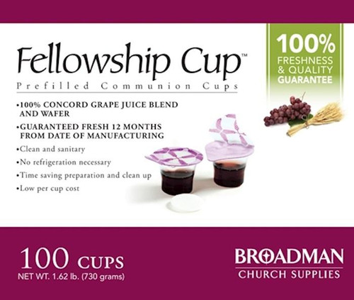 """<p><span data-mce-fragment=""""1"""">Ready to serve, pre-filled communion cup that contains 100% grape juice and an unleavened wafer. The top seal provides easy access to the wafer. Once the wafer is consumed the second seal reveals the juice. Fits into standard communion cup trays and no refrigeration is needed. Cups are guaranteed fresh if used by stamped date on the box.</span></p> <p><span data-mce-fragment=""""1"""">This product is guaranteed to be fresh if used by date stamped on the box.</span></p> <ul> <li><span data-mce-fragment=""""1"""">Contains 100 individual serving cups</span></li> <li><span data-mce-fragment=""""1"""">The Fellowship Cup™ contains 100% Grape Juice and Unleavened Wafer</span></li> <li><span data-mce-fragment=""""1"""">Easy Access to Elements</span></li> <li><span data-mce-fragment=""""1"""">""""One Pass"""" Serving</span></li> </ul>"""