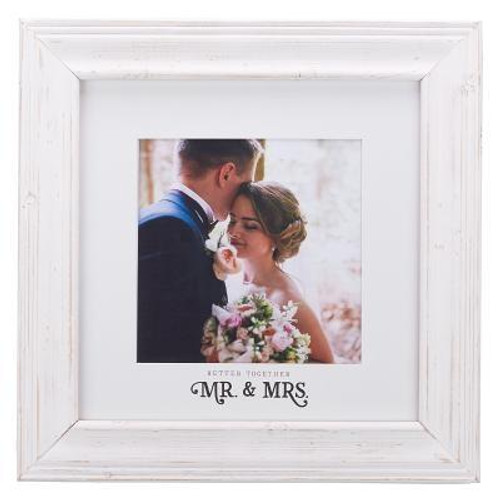 """Help the happy couple celebrate their wedding day by giving them the Better Together Photo Frame as a gift. It's the perfect gift for their wedding, bridal shower, or engagement party. The newlyweds will love the reminder of their happiness on the day they committed to spend the rest of their days together.  Photo Size: 8"""" (W) x 8"""" (H) and includes hooks for hanging. <br><b>Vendor:</b> CAG<br><b>Weight:</b> 2.92lbs<br><b>Size:</b> 15 1/2"""" (W) x 15 1/2"""" (H) x 5/8"""" (D) <br><b>ISBN:</b> 0843310100318"""