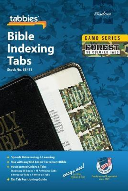 Camo Forest Bible Indexing Tabs: Forest Camo Bible Tabs <br><b>Author:</b> Tabbies<br><b>Publisher:</b> Tabbies<br><b>Published:</b> 03/02/2017<br><b>Binding Type:</b> Other<br><b>Weight:</b> 0.04lbs<br><b>Size:</b> 6.80h x 4.10w x 0.01d<br><b>ISBN:</b> 0084371584116
