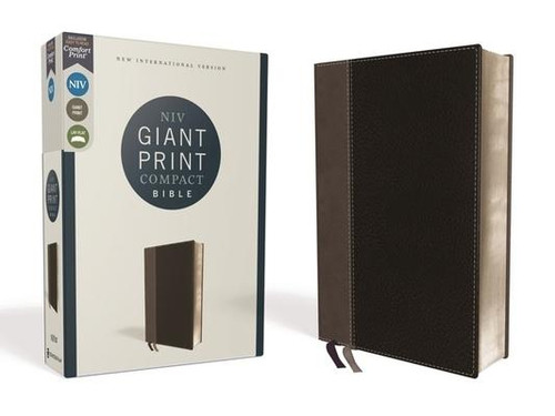 NIV, Giant Print Compact Bible, Leathersoft, Black, Red Letter Edition, Comfort Print