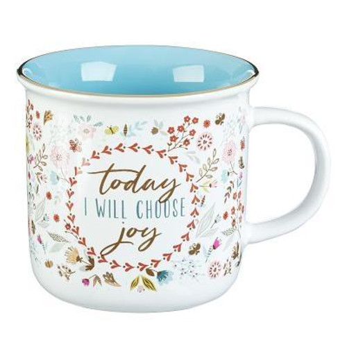 """Choosing joy in your daily life is the heart behind the Choose Joy Coffee Mug. The white ceramic coffee mug comes with a floral design on the outside and a blue inside. A gold rim accents the coffee mug, and """"Today I Will Choose Joy"""" is at the center of the ceramic mug.   <br><b>Tested for Lead <br><b>Not Microwave or Dishwasher Safe <br><b>Packaged in a Gift Box <br><b> Ceramic Mug <br><b>Weight:</b> 0.66lbs <br><b>Capacity:</b>  13 Fl Oz  Size: 4.10h x 4.70w x 3.90d <br><b>ISBN:</b> 0843310100080"""