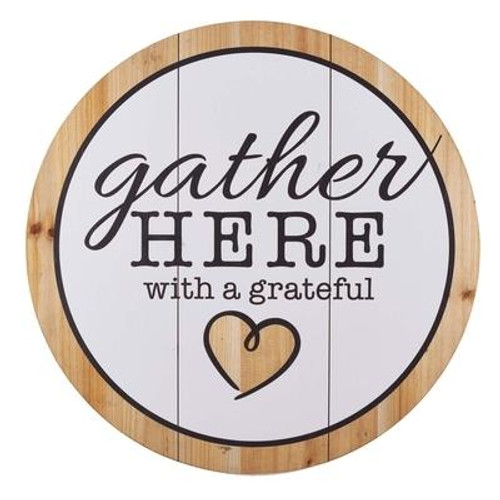 Decorate your home this Thanksgiving with the Gather Here with A Grateful Heart Wall Art piece. <br><b> Weight:</b> 4.02lbs<br><b>Size:</b> 20.00h x 20.00w x 1.75d<br><b>ISBN:</b> 0843310100578