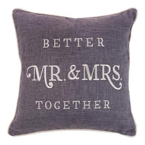 Give the newlyweds the Better Together Square Pillow as a wedding, shower, engagement, or wedding gift. It also makes a treasured gift for couples who have been married for years. It celebrates the strength of marriage. The square pillow fits anywhere in their home, whether it's the living room, sunroom, or bedroom.   <br><b> Material:</b> 100% polyester with a polyester filling inside <br><b>Weight:</b> 1.30lbs<br><b>Size:</b> 15.50h x 15.50w x 3.00d<br><b>ISBN:</b> 0843310100394