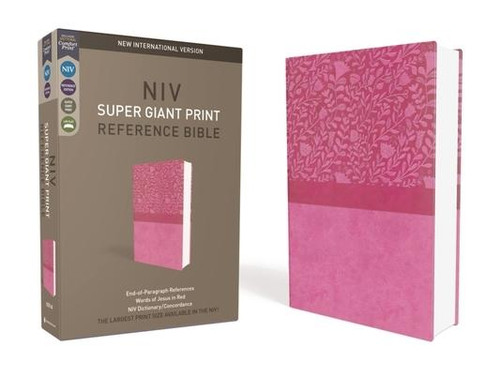 NIV, Super Giant Print Reference Bible, Giant Print, Imitation Leather, Cranberry, Red Letter Edition