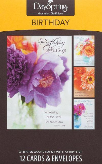 """<span data-mce-fragment=""""1"""">Blooming flowers to inspire and encouragement and a Scripture on every card!</span><br data-mce-fragment=""""1""""><br data-mce-fragment=""""1""""> <ul> <li><span data-mce-fragment=""""1"""">12 cards, 4 designs</span></li> <li><span data-mce-fragment=""""1"""">4 ½"""" x 6 9/16</span></li> <li><span data-mce-fragment=""""1"""">Scripture text: KJV</span></li> </ul>"""