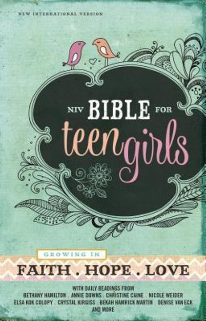 <p><strong>Support her personal devotion time with tools and insights from leading authors and Christian thinkers like Bethany Hamilton, Annie F. Downs, Christine Caine, and more</strong></p><p>The <em>NIV Bible for Teen Girls</em>, designed specifically for girls ages 13 to 18, is for real teenage girls with real lives. Packed with daily readings, highlighted promises of God, challenging insights, smart advice, and open discussion about the realities of life, this Bible is designed to help teen girls grow in faith, hope, and love. The <em>NIV Bible for Teen Girls</em> is as sincere about her walk with God as you are, helping her discover God's will for all areas of her life, including relating to family, dealing with friends, work, sports, guys, and so much more.</p><p>Features include: </p><ul> <li>Daily readings for teen girls by popular Christian female authors (Annie F. Downs, Bekah Hamrick Martin, Christine Caine, Crystal Kirgiss, Bethany Hamilton, Nicole Weider, Elsa Kok Colopy, Denise Van Eck and more)</li> <li>Character profiles of women in the Bible</li> <li>Book introductions for each book of the Bible</li> <li>Highlighted promises of God: verses worth remembering</li> <li>A concordance for help in finding verses</li> <li>The complete text of the bestselling New International Version (NIV) of the Bible</li> </ul><br><br><b>Author:</b> Zondervan<br><b>Publisher:</b> Zondervan<br><b>Published:</b> 08/25/2015<br><b>Pages:</b> 1720<br><b>Binding Type:</b> Hardcover<br><b>Weight:</b> 2.35lbs<br><b>Size:</b> 8.50h x 5.60w x 1.80d<br><b>ISBN:</b> 9780310749691<br><br><b>Review Citation(s): </b><br><i>CBA Retailers</i> 10/01/2015 pg. 25