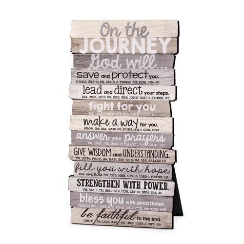 """<p data-mce-fragment=""""1"""">On The Journey God Will... This beautiful stacked wood plaque is perfect for any table or wall display</p> <ul data-mce-fragment=""""1""""> <li data-mce-fragment=""""1""""><span data-mce-fragment=""""1"""">MDF Wood</span></li> <li data-mce-fragment=""""1"""">Easel back desktop plaque</li> <li data-mce-fragment=""""1"""">Product Size 5"""" x 10""""</li> </ul> <p data-mce-fragment=""""1""""></p>"""