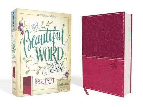 <p><strong>Be drawn into God's Word through a fresh, creative expression of the beautiful words of God.</strong></p><p>Crafted on high-quality paper and balanced with inspiring full-color art and blank space, the <em>NIV Beautiful Word</em><em><sup>TM</sup></em><em> Bible, Large Print </em>will encourage a deeper and more authentic quiet time. With 500 verses illustrated to help you see the rich diversity of stories, characters, prophecies, rewards, and hope contained within Scripture, you will discover wisdom to sustain you in every season, drawing you deeper into God's life-changing and inspired Word.</p><p>Features include: </p><ul> <li>Single-column, large-print text of the New International Version (NIV)</li> <li>500 full-color illustrated verses</li> <li>Wide margins and high-quality paper for notes, journal entries or artwork</li> <li>Ribbon marker</li> <li>Index of illustrated Scripture passages</li> <li>10-point type size</li> </ul><br><br><b>Author:</b> Zondervan<br><b>Publisher:</b> Zondervan<br><b>Published:</b> 02/07/2017<br><b>Pages:</b> 2016<br><b>Binding Type:</b> Imitation Leather<br><b>Weight:</b> 3.35lbs<br><b>Size:</b> 8.80h x 7.20w x 2.20d<br><b>ISBN:</b> 9780310446071<br><b>Large Print</b>