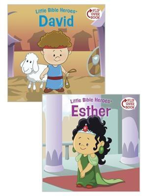 What could be better than a great hero story? TWO great hero stories  And there's no better place to find them than the Bible. Each Little Bible Heroes(TM) Flip-Over Book offers two stories of bravery, faithfulness, and kindness--straight from the Bible and perfect for little hero-loving hearts  <p></p> In these pages, read how young David bravely fought Goliath in God's name. Then flip the book over and learn how Esther had the courage to save her people. Two great stories to learn from and enjoy  <p></p> Collect the entire Little Bible Heroes(TM) series: <br><i>Creation/Noah Flip-Over Book</i> <br><i>Miriam/Daniel Flip-Over Book</i> <br><i>Joshua/Rahab Flip-Over Book</i> <br><i>Samuel/The Little Maid Flip-Over Book</i> <br><i>David/Esther Flip-Over Book</i> <br><i>Joseph/The Good Samaritan Flip-Over Book</i> <br><i>Christmas/Easter Flip-Over Book</i> <br><i>Jesus' Miracles/Martha Flip-Over Book</i> <br><br><br><b>Author:</b> Victoria Kovacs<br><b>Publisher:</b> B&amp;H Publishing Group<br><b>Published:</b> 06/01/2015<br><b>Pages:</b> 32<br><b>Binding Type:</b> Paperback<br><b>Weight:</b> 0.20lbs<br><b>Size:</b> 7.70h x 7.80w x 0.10d<br><b>ISBN:</b> 9781433687136