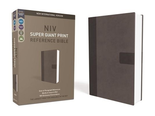 NIV, Super Giant Print Reference Bible, Giant Print, Imitation Leather, Gray, Red Letter Edition