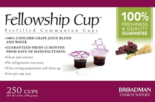 """<p data-mce-fragment=""""1""""><span data-mce-fragment=""""1"""">Ready to serve, pre-filled communion cup that contains 100% grape juice and an unleavened wafer. The top seal provides easy access to the wafer. Once the wafer is consumed the second seal reveals the juice. Fits into standard communion cup trays and no refrigeration is needed. Cups are guaranteed fresh if used by stamped date on the box.</span></p> <p data-mce-fragment=""""1""""><span data-mce-fragment=""""1"""">This product is guaranteed to be fresh if used by date stamped on the box.</span></p> <ul data-mce-fragment=""""1""""> <li data-mce-fragment=""""1""""><span data-mce-fragment=""""1"""">Contains 250 individual serving cups</span></li> <li data-mce-fragment=""""1""""><span data-mce-fragment=""""1"""">The Fellowship Cup™ contains 100% Grape Juice and Unleavened Wafer</span></li> <li data-mce-fragment=""""1""""><span data-mce-fragment=""""1"""">Easy Access to Elements</span></li> <li data-mce-fragment=""""1""""><span data-mce-fragment=""""1"""">""""One Pass"""" Serving</span></li> <li data-mce-fragment=""""1""""><span data-mce-fragment=""""1"""">Weight: 3.85lbs</span></li> <li data-mce-fragment=""""1""""><span data-mce-fragment=""""1"""">Box Size: 9.30h x 9.10w x 6.10d</span></li> </ul>"""
