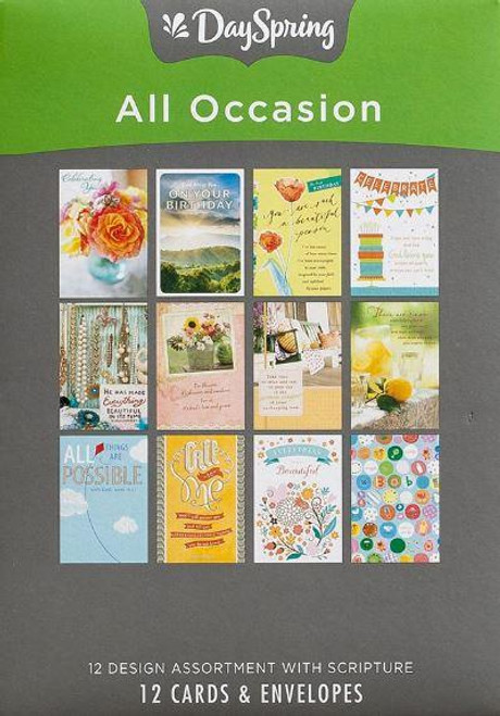 """<p><span data-mce-fragment=""""1"""">Be ready for any occasion with this box of All Occasion greeting cards from DaySpring.</span></p> <p><br data-mce-fragment=""""1""""><span data-mce-fragment=""""1"""">Details:</span><br data-mce-fragment=""""1""""><span data-mce-fragment=""""1"""">Colorful artwork and photographs</span><br data-mce-fragment=""""1""""><span data-mce-fragment=""""1"""">Heartfelt sentiments</span><br data-mce-fragment=""""1""""><span data-mce-fragment=""""1"""">KJV Scripture quotation</span><br data-mce-fragment=""""1""""><span data-mce-fragment=""""1"""">12 cards and envelopes</span><br data-mce-fragment=""""1""""><span data-mce-fragment=""""1"""">Approx. 4.5"""" w x 6.5"""" h</span></p> <p><br data-mce-fragment=""""1""""><span data-mce-fragment=""""1"""">Set includes: 1-Blank, 4-Birthday, 3-Encouragment, 1-Get Well, 1-New Baby, 1-Sympathy, 1-Praying for You.</span></p>"""
