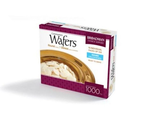 """<p><span data-mce-fragment=""""1"""">For churches who prefer white unleavened bread - made of wheat flour, shortening, salt and water - for use in the Communion service, these Plain Round Communion Wafers measure 1 1/8"""" across (slightly larger than a quarter) and come packaged in cellophane tubes. A box contains enough pieces to serve 1000.</span><br data-mce-fragment=""""1""""></p> <p></p>"""