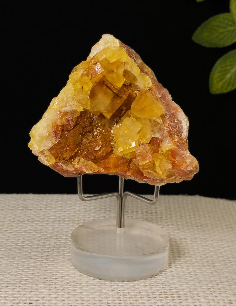 Fluorescent Yellow Cubic Fluorite Mineral Specimen, 52x50x34 mm, 75g