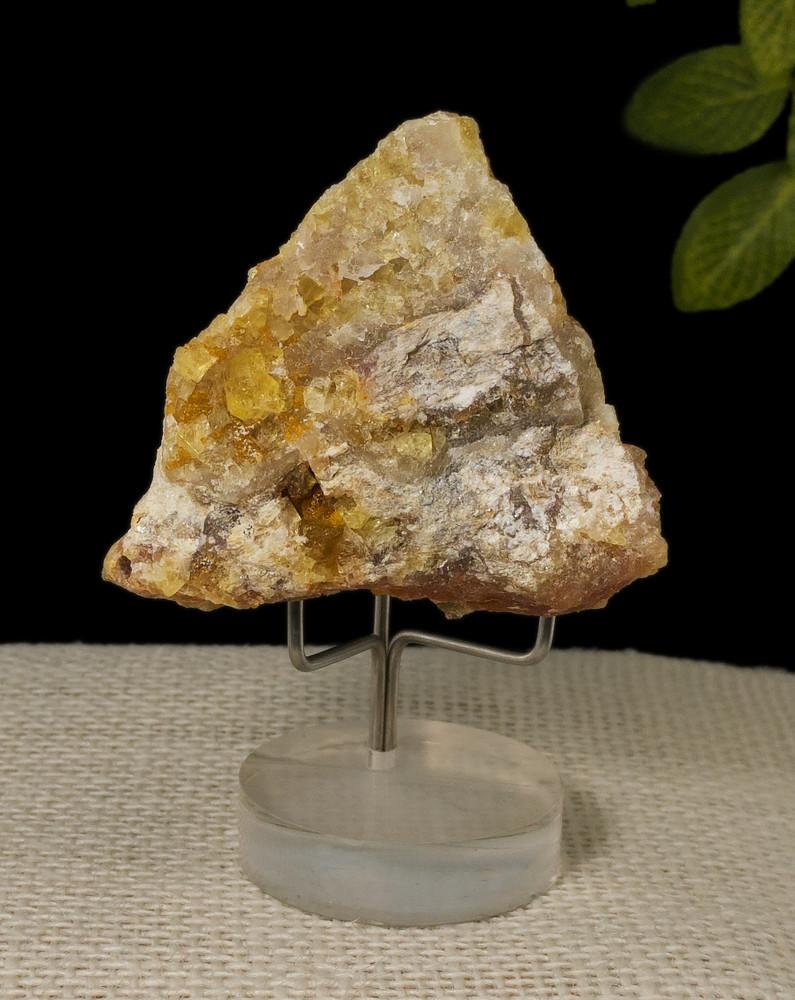 Fluorescent Yellow Cubic Fluorite Mineral Specimen, 52x50x34 mm, 75g  - back view