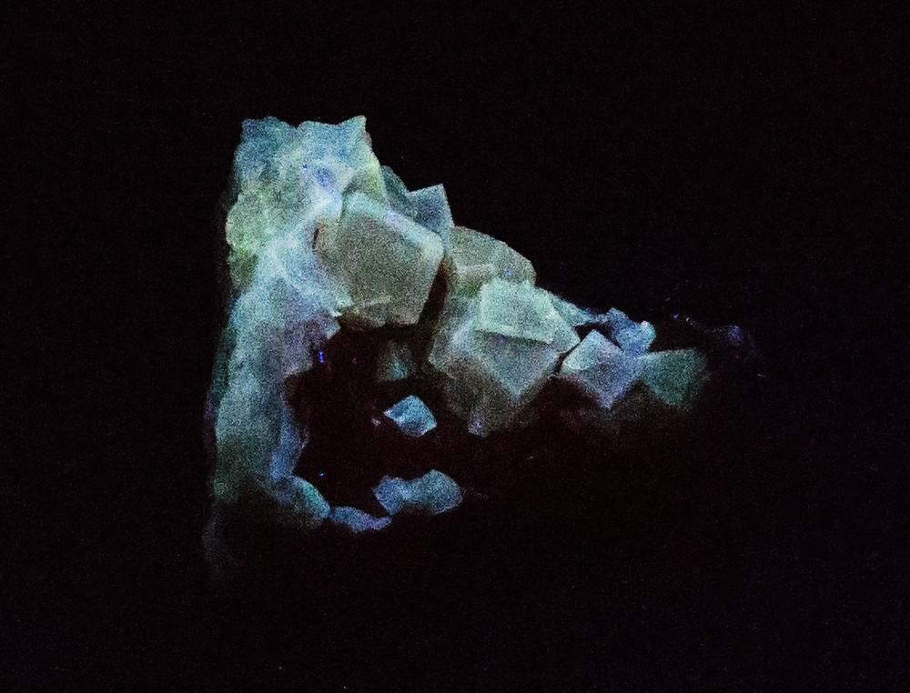 Fluorescent Yellow Cubic Fluorite Mineral Specimen, 52x50x34 mm, 75g  in UV Light, view 2