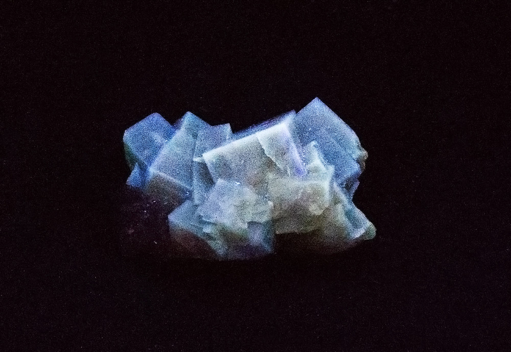 Fluorescent Yellow Cubic Fluorite Mineral Specimen from Morroco, 44x32mm - SW UV Light