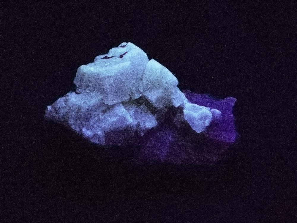 Fluorescent Yellow Cubic Fluorite Crystal Specimen from Morroco, 50x32x31mm, 39g - in SW UV Light