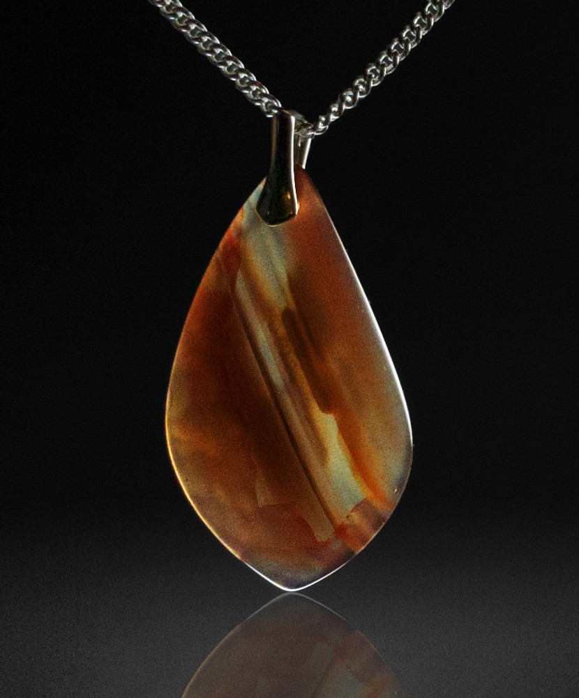 Delicate Chalcedony Pendant, 38x22x5mm, 27.5 cts  - backlit view