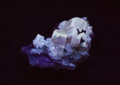 Fluorescent Yellow Cubic Fluorite Crystal Specimen from Morroco, 50x32x31mm, 39g - in SW UV Light - view 2