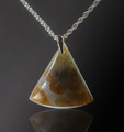 Translucent Ocean Jasper Pendant, 32x31x8mm, 36.8 cts - semi-backlit view