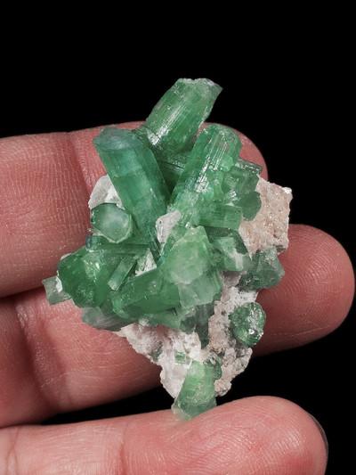 Rare Paraiba Green/Blue Tourmaline Crystals on Matrix, front view