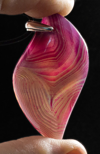 Purple Striped Agate Pendant Bead Stone - backlit view